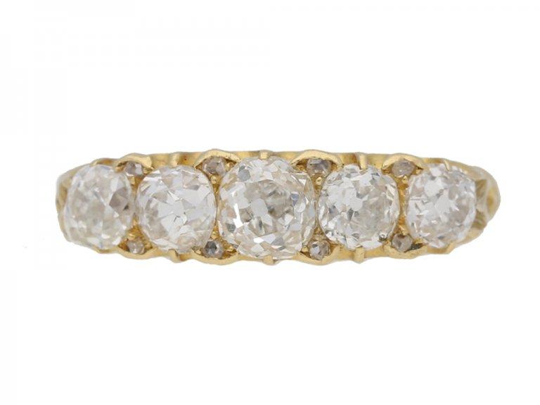 front view antique H.L.Brown Son  diamond ring hatton garden berganza