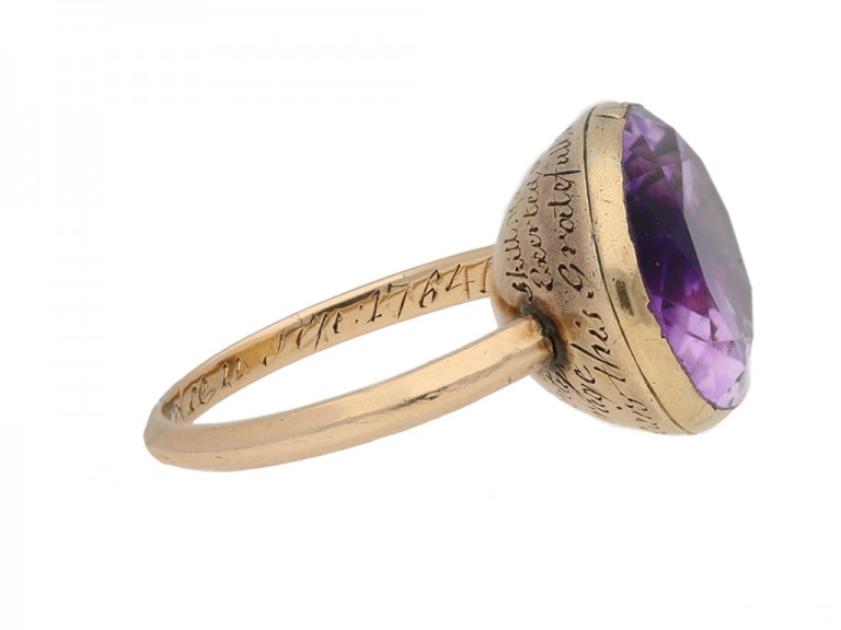 side view Georgian amethyst mourning ring, 1764.