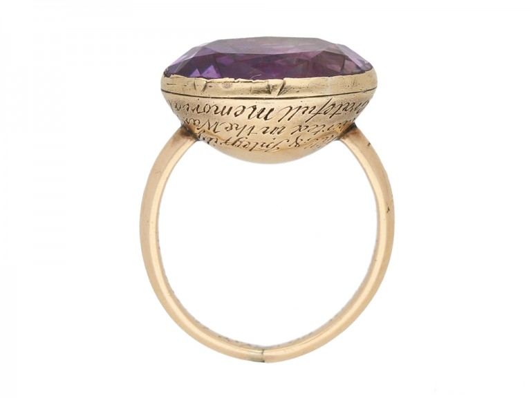 back view Georgian amethyst mourning ring, 1764.