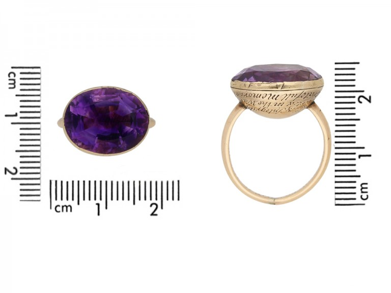 size view Georgian amethyst mourning ring, 1764.