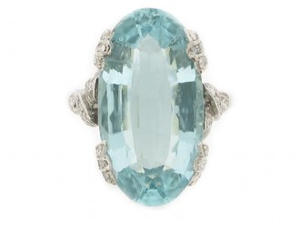 front view Aquamarine and diamond ring, circa 1920.
