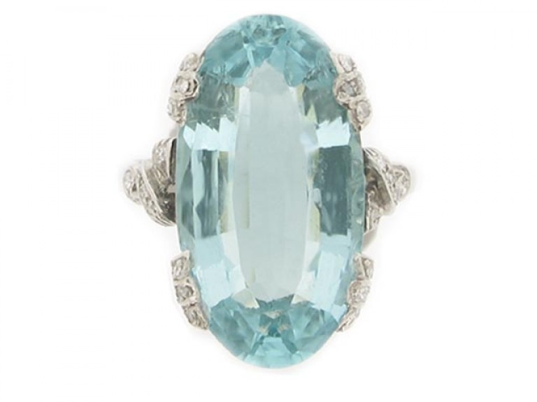 front view Aquamarine and diamond ring, circa 1920.