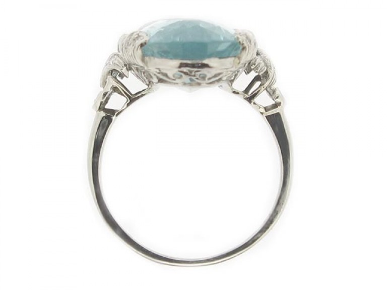 back view Aquamarine and diamond ring, circa 1920.