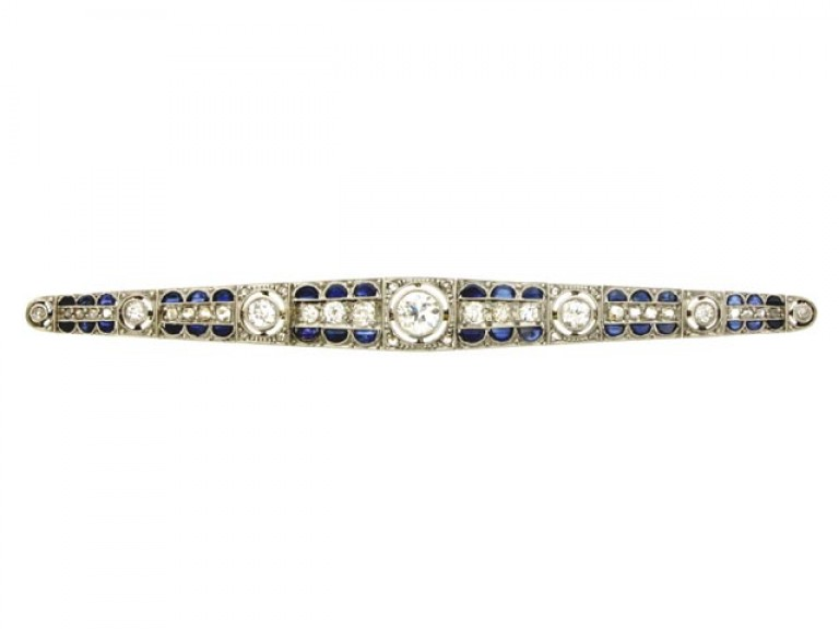 front view Diamond and synthetic sapphire brooch