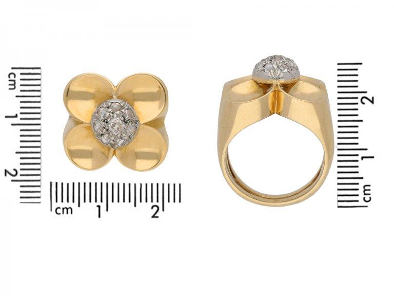 vintage Diamond flower cocktail ring berganza hatton garden