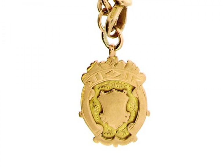 fob view John Goode & Sons rose gold Albert chain with fob,