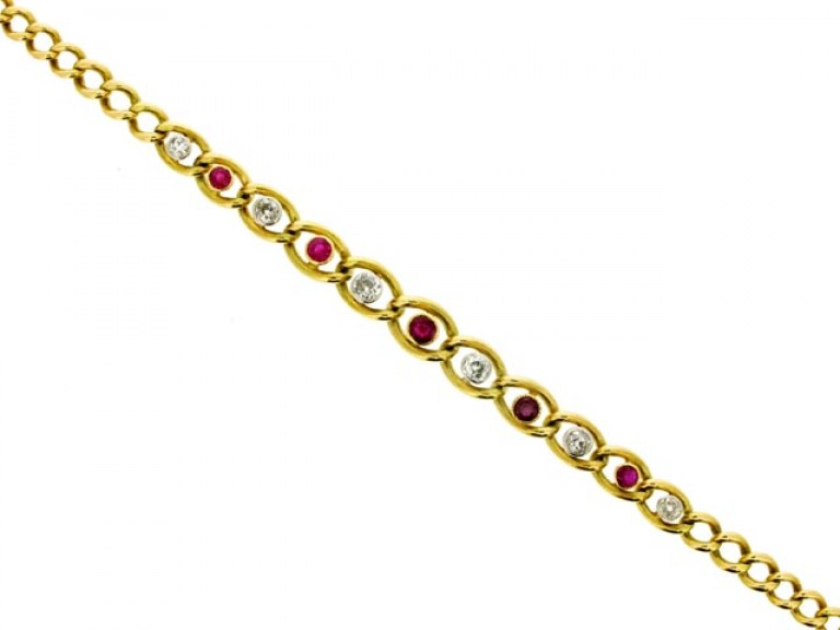 front view Ruby and diamond bracelet, circa 1910.