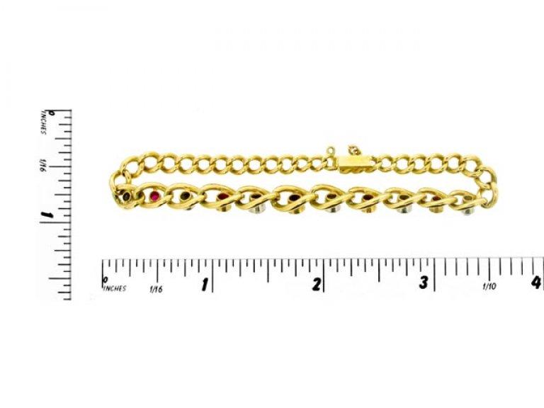 size view Ruby and diamond bracelet, circa 1910.
