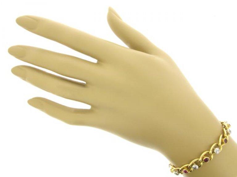 hand view Ruby and diamond bracelet, circa 1910.