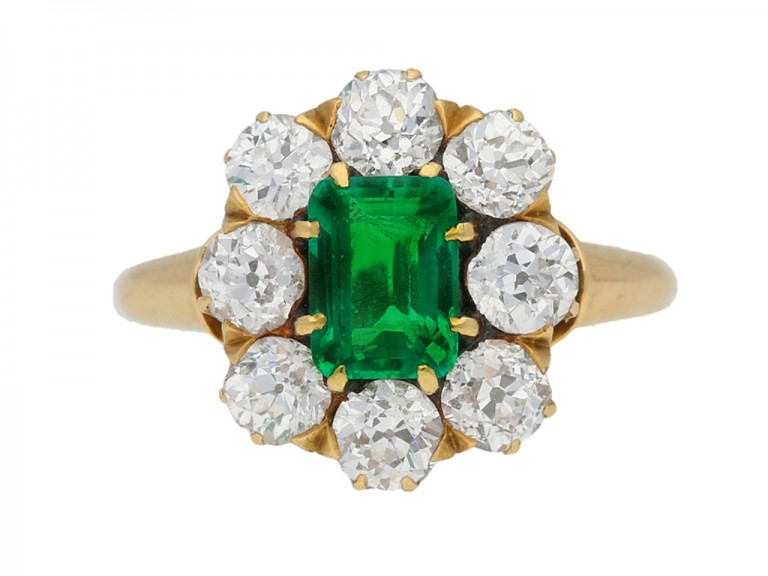 Antique emerald diamond cluster ring berganza hatton garden