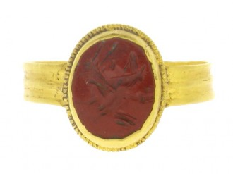 front view Ancient Roman jasper signet ring  engraved with a grillos