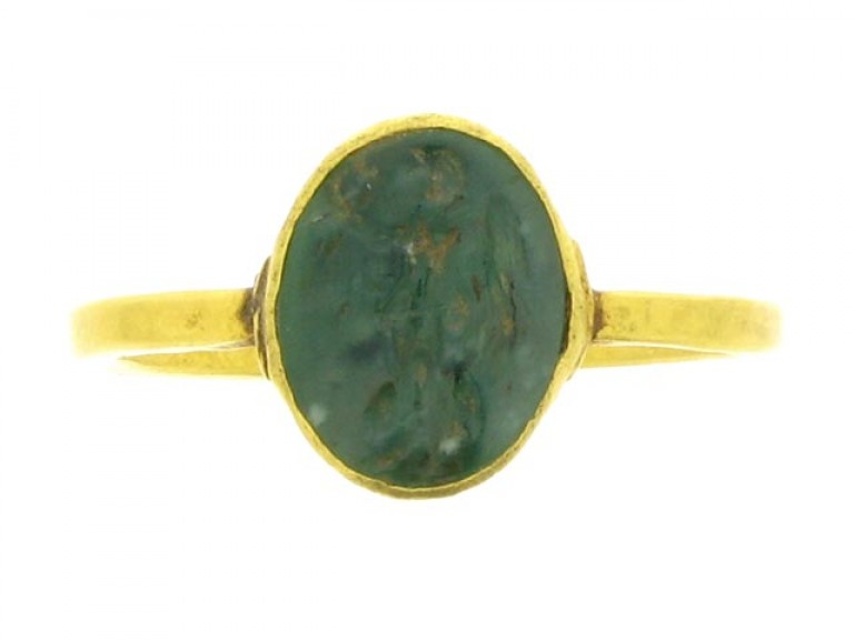 front view Ancient Roman signet ring engraved with Victoria