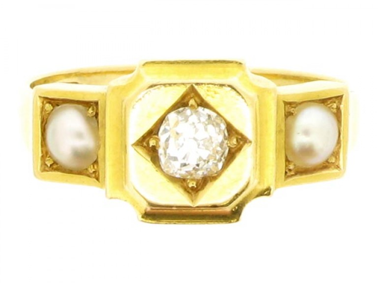 Antique diamond and pearl ring, English, circa 1878.